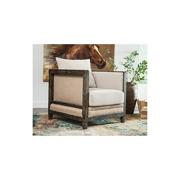 Ashley Furniture Signature Design Copeland Accent Chair - Casual Style - Linen - Black Nailhead Trim
