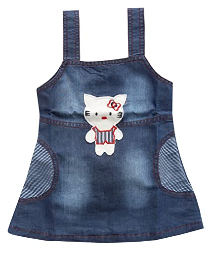 ea55f0ad1e9 BabyMart High Quality Baby Girls Soft Denim Frock Middy Dress Infant Jeans  Party Wear Frock Dress for 0-24 Month Baby Girl (Blue