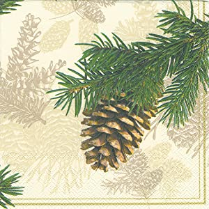Ideal Home Range Luncheon Decorative Paper Napkins, Fir Cone on Cream, 20 Count