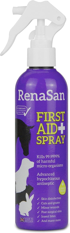RenaSan Spray de Primeros Auxilios 250ml - Para todos los animales, perros, gatos, mascotas pequeñas, caballos, reptiles, aves de corral y aves