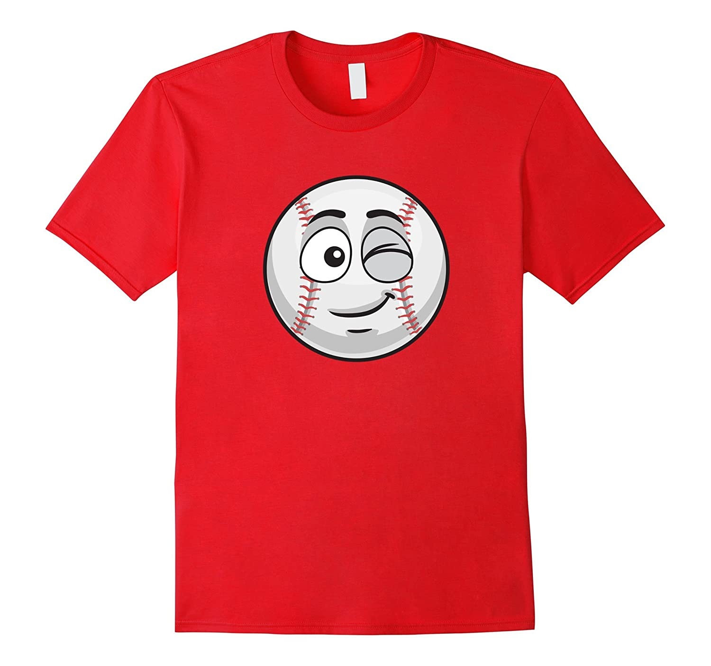 Winking Baseball Funny Novelty Gift Emoticon T-shirt-PL