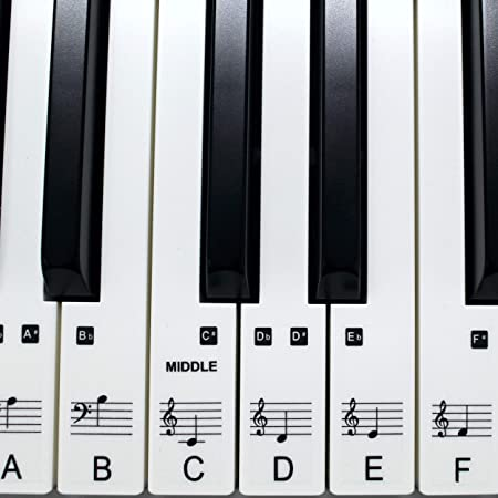 Juego de pegatinas o el piano 61 clave teclado música aprender a jugar rápido laminado, Ultra Thin Claro plástico ps1 C 61