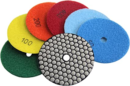 Diamond Polishing Pads 4 Inch Wet 7 Piece Sets From Grit 50# to 3000# For Marble Granite Tile