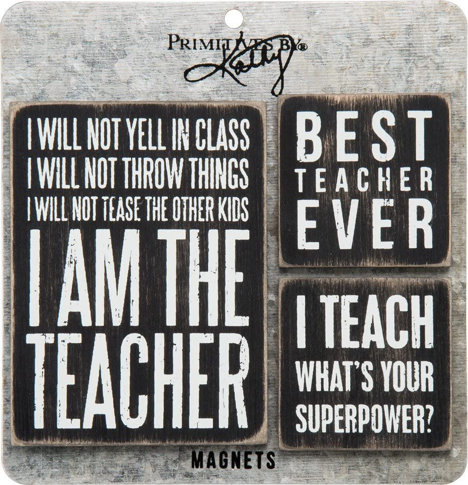 Primitives by Kathy Classic Black and White Kitchen Magnets, Teacher