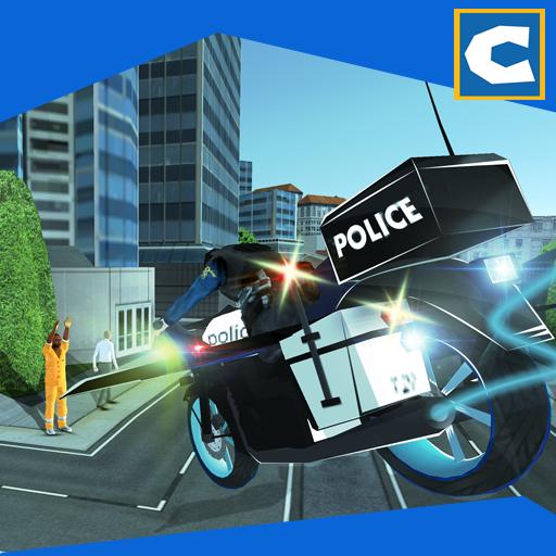 (Flying Police Bike Chase Crime )