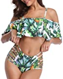 Tempt Me Women Two Pieces Flounce Off Shoulder Tropical Printed Bikini Set Swimsuits