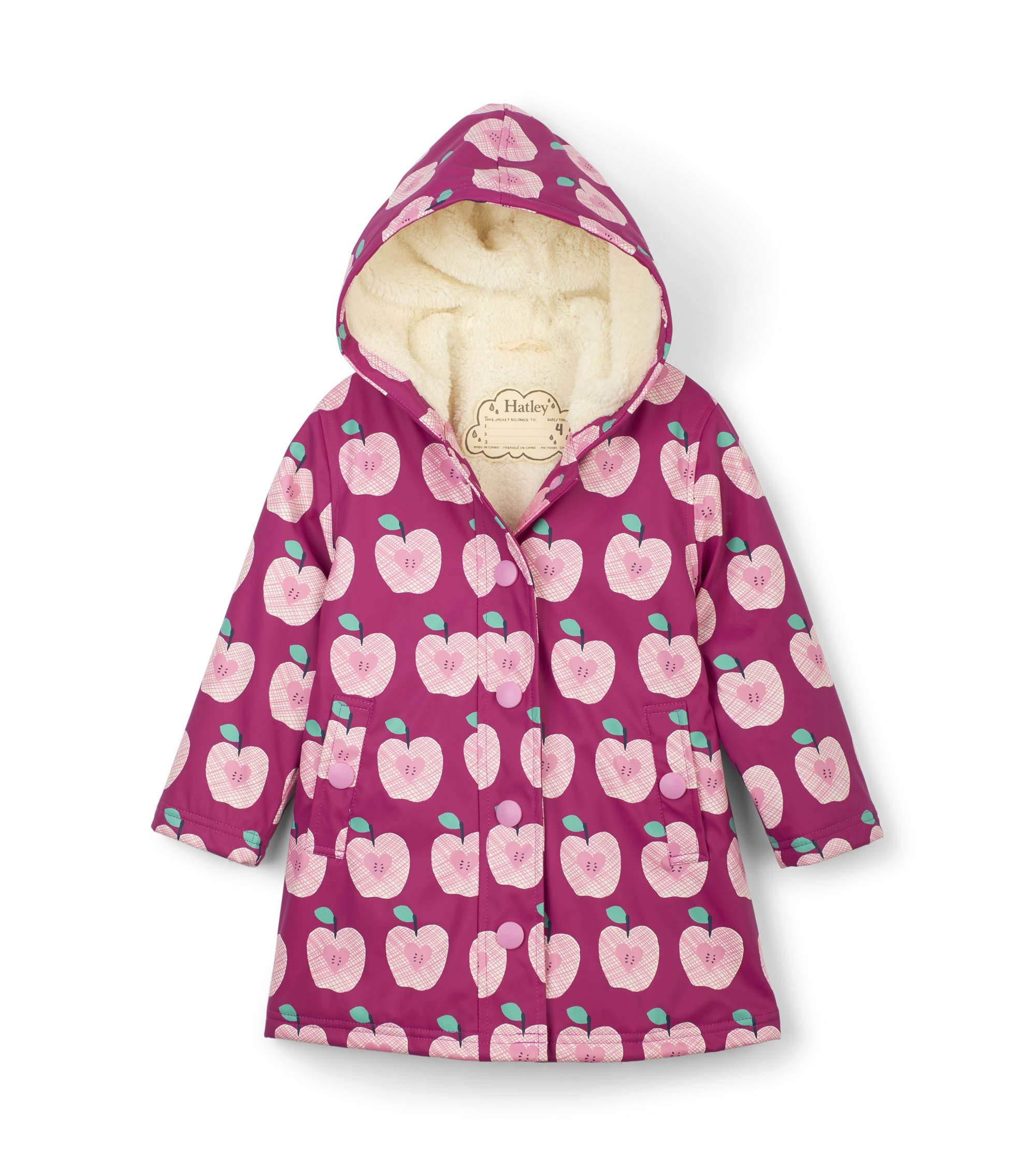 Hatley Girls' Little Sherpa Lined Splash Jacket, Apple Orchard, 3 Years by Hatley