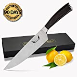 Quality Chef Knife W/ Sharpener: Have a Chefs Precision. Sharp Cutlery Kitchen Tools. Chopping & Dicing 8 Inch Butcher Knives for Meat, Vegetables, Fish, Sushi & Sashimi. High Carbon Stainless Steel