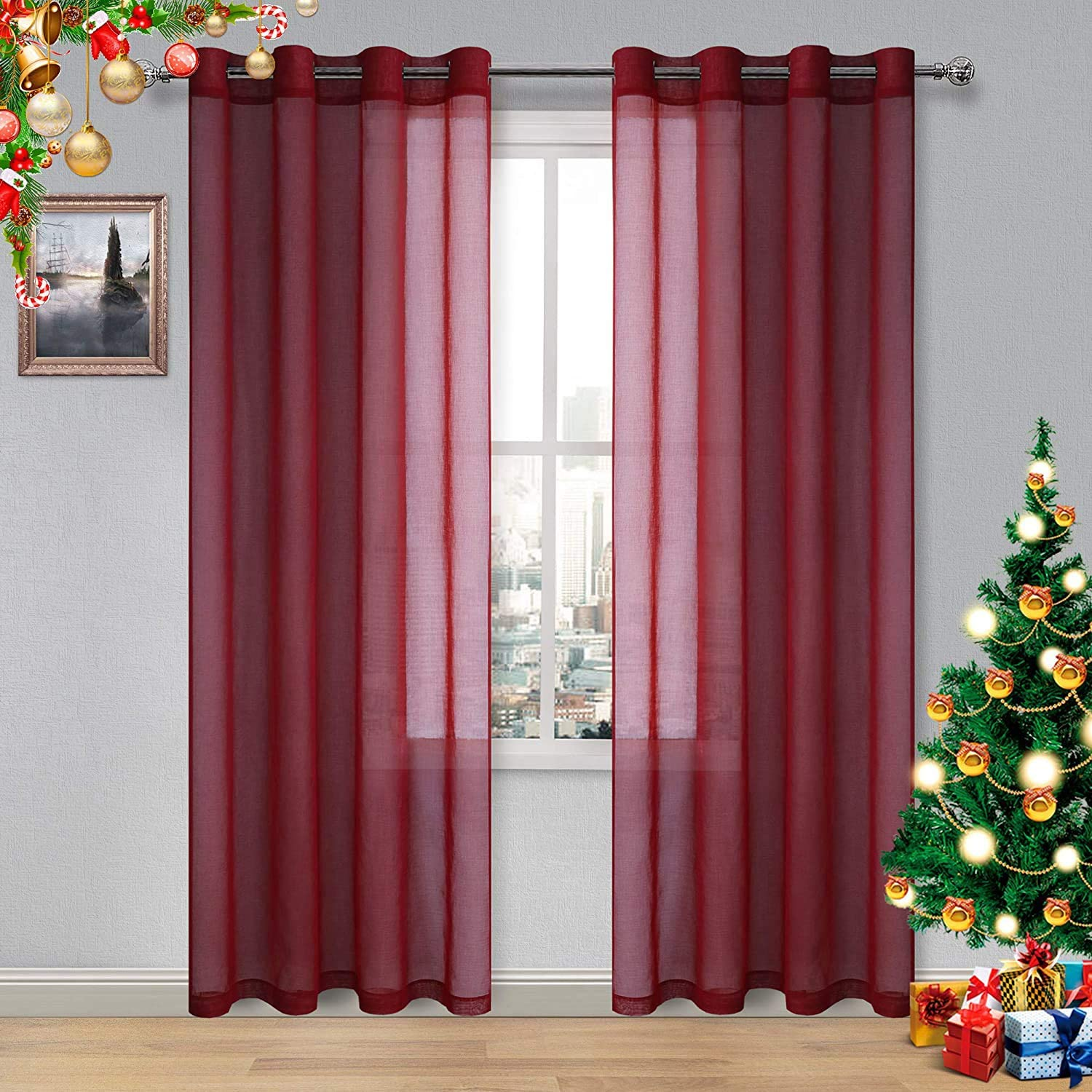DWCN Amaranth Red Sheer Curtains Bedroom Curtains Faux Linen Voile Sheer Drapes Grommet Top Window Curtain Panel 52 x 108 inches Long,Set of 2 Panels
