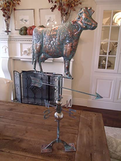 Merveilleux Furniture Barn USA New LARGE Handcrafted 3D   Dimensional COW Weathervane  Copper Patina Finish !