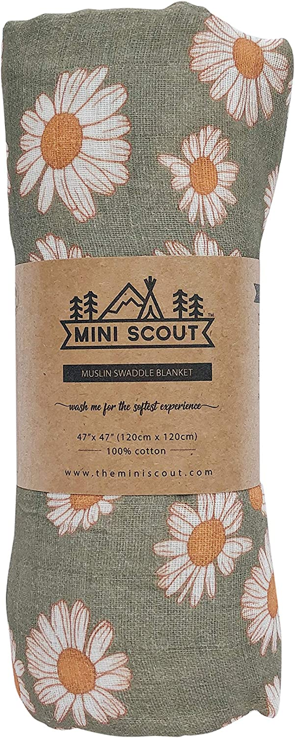 The Mini Scout Daisy Swaddle Soft Muslin Nursery Blanket for Newborn Baby Girl Sage Green