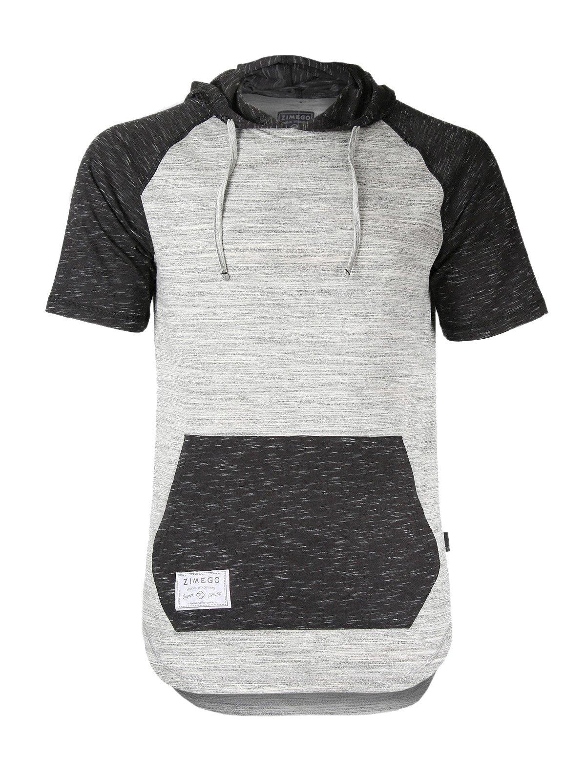 ZIMEGO Men's Short Sleeve Raglan Hoodie Round Bottom Semi Longline T-Shirt (U.S Large, H Grey Fulfilled by Amazon)