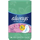 Always Ultra Thin Slender Feminine Pads with Wings, Unscented, 36 Count - Pack of 2 (72 Total Count)
