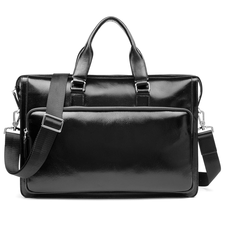 b1b3223b86e1 Amazon.com | MANTOBRUCE Leather Briefcase Shoulder Laptop Business Vintage Simple  bag 15