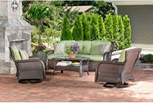 Hanover STRATH4PCSW-S-GRN Strathmere 4Piece Lounge Set in Cilantro Green Outdoor Furniture