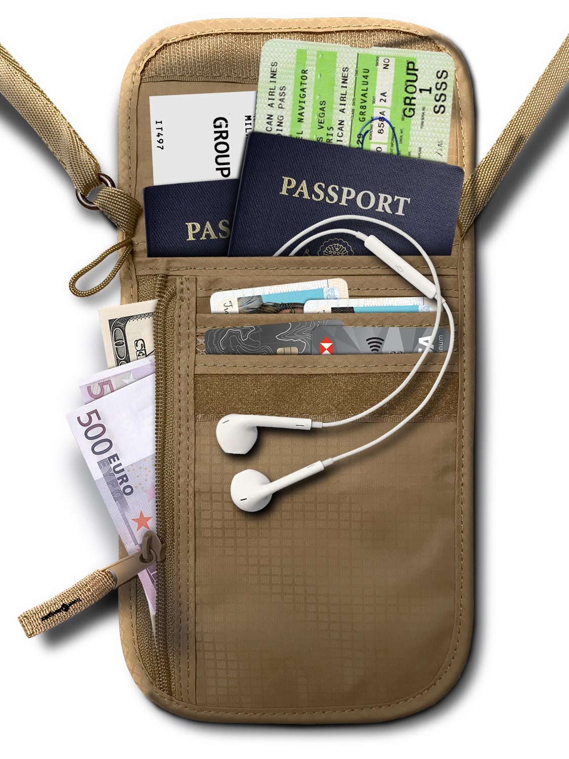RFID Blocking Neck Stash Passport, Unisex, Tan