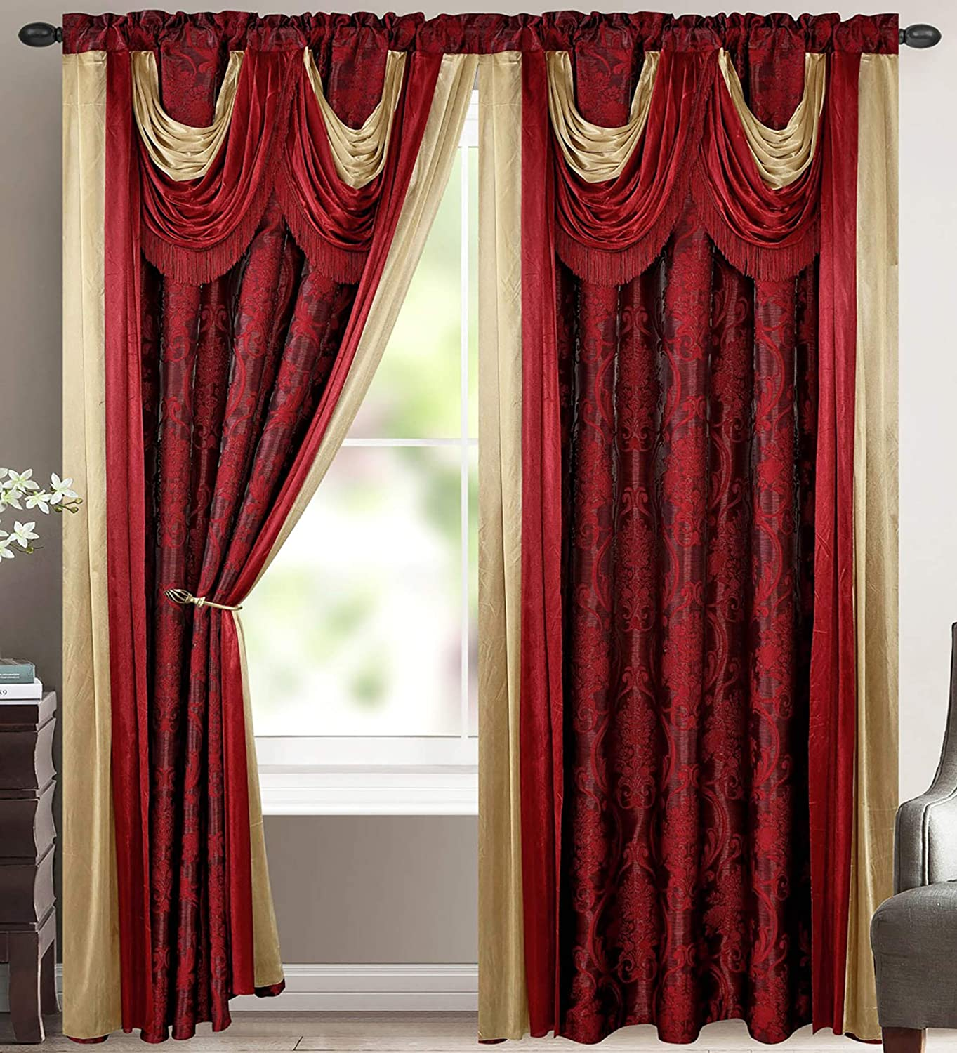 Bella Luxury Jacquard Curtain Panel with Attached Waterfall Valance & Scarf 54 by 84-Inch Burgundy