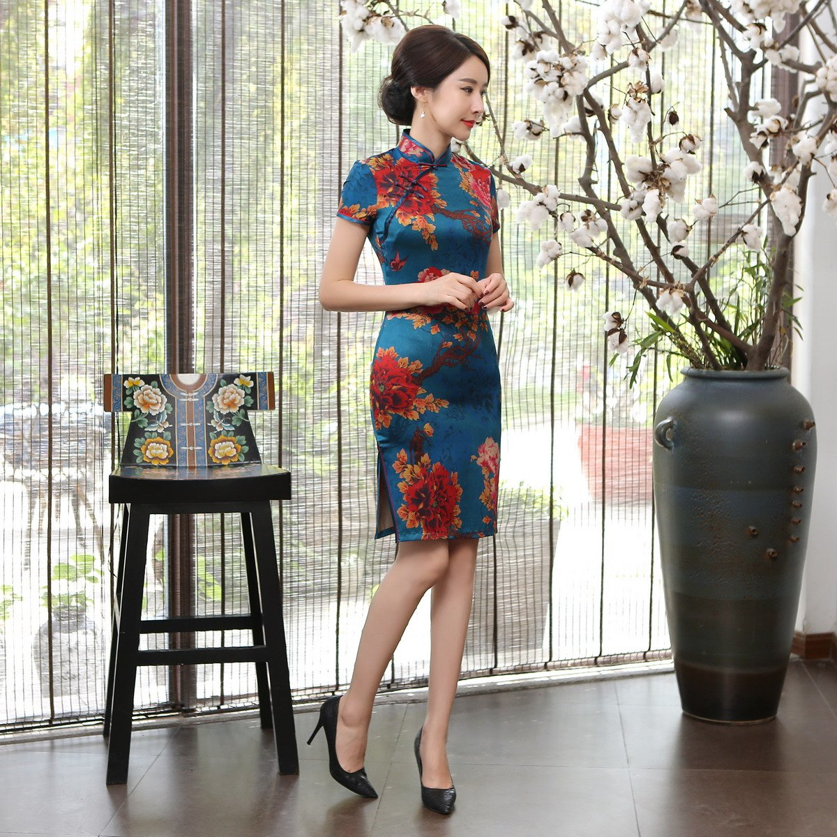 ACVIP Womens Vintage Flower Print Short Chinese Cheongsam Dresses Slim Fit: Amazon.co.uk: Clothing