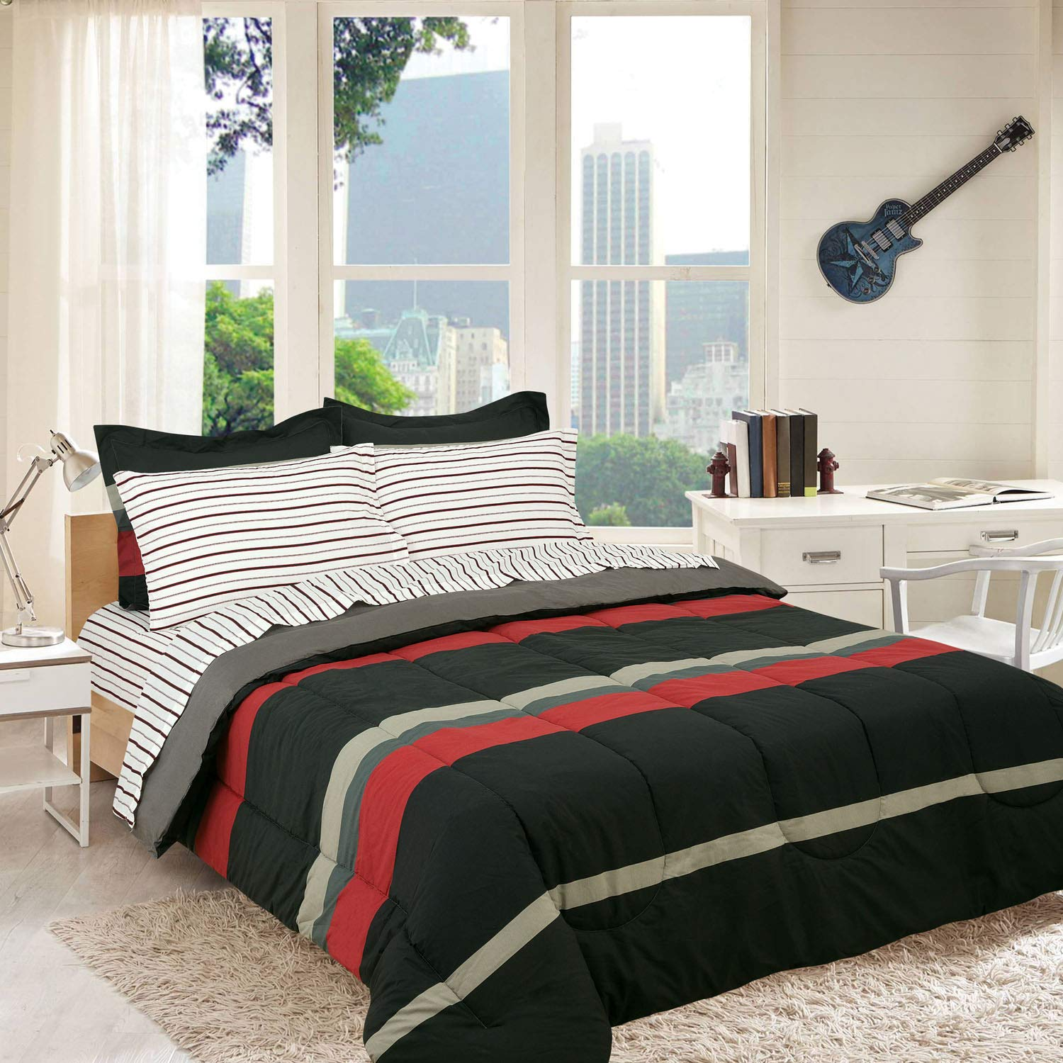 Royale Linens Campus Colors Rugby Stripe Red and Grey, Reversible, Twin Extra Long, Complete Set, XL