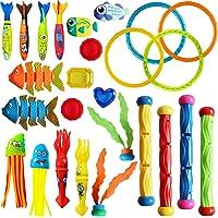Cakuni Underwater Swim Pool Diving Toys - Summer Swimming Dive Toy Sets - Water Rings,Sticks,Octopus,Torpedo Bandits…