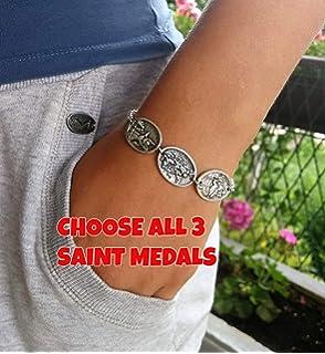 Friedman Catholicism Symbols Saint Benedicts Cross Stainless Steel Double Layer Bracelet