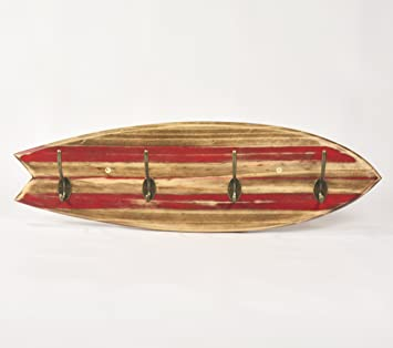 Perchero Tabla Surf Vintage Red Lines
