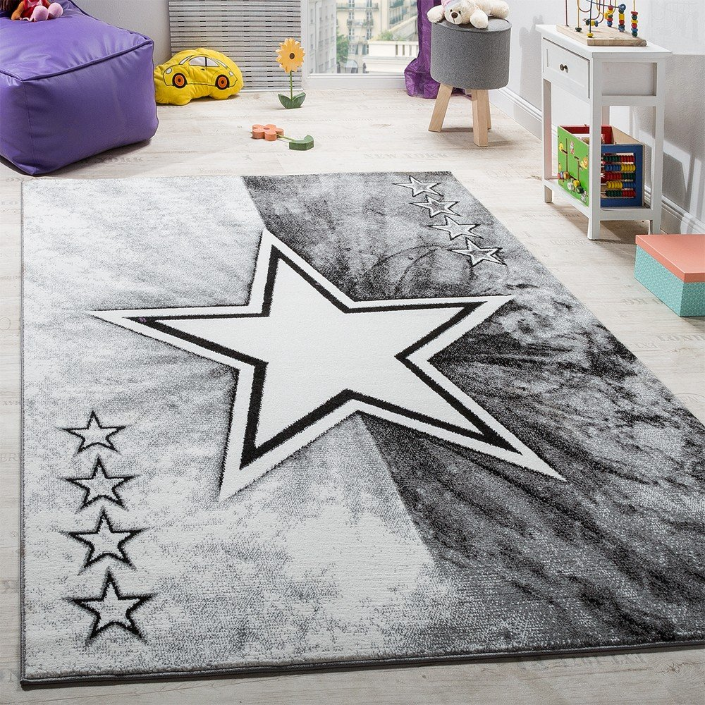 Carpet Children's room Star Design Play mat Children's carpet Short pile in Grey, Size:80x150 cm Paco Home