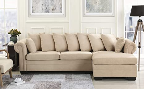 Modern Large Microfiber Sectional Sofa, L-Shape Couch with Extra Wide Chaise Lounge (Beige)