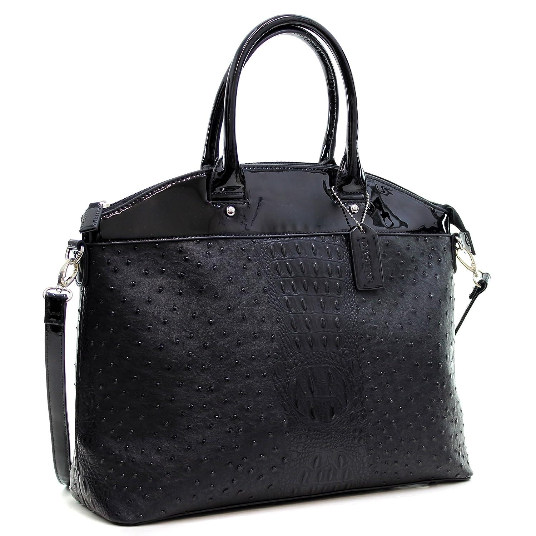 Amazon.com  Dasein Ostrich Large Classic Elegantly structured Satchel Tote  Shoulder Bag Handbag with Removable Shoulder Strap - Black  Shoes cb2b9bee13