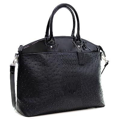 438cc685291e Dasein Ostrich Large Classic Elegantly structured Satchel Tote Shoulder Bag  Handbag with Removable Shoulder Strap -