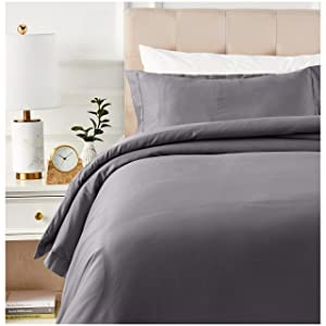 AmazonBasics 400 Thread Count Cotton Duvet Cover Set with Sateen Finish - Twin, Dark Grey