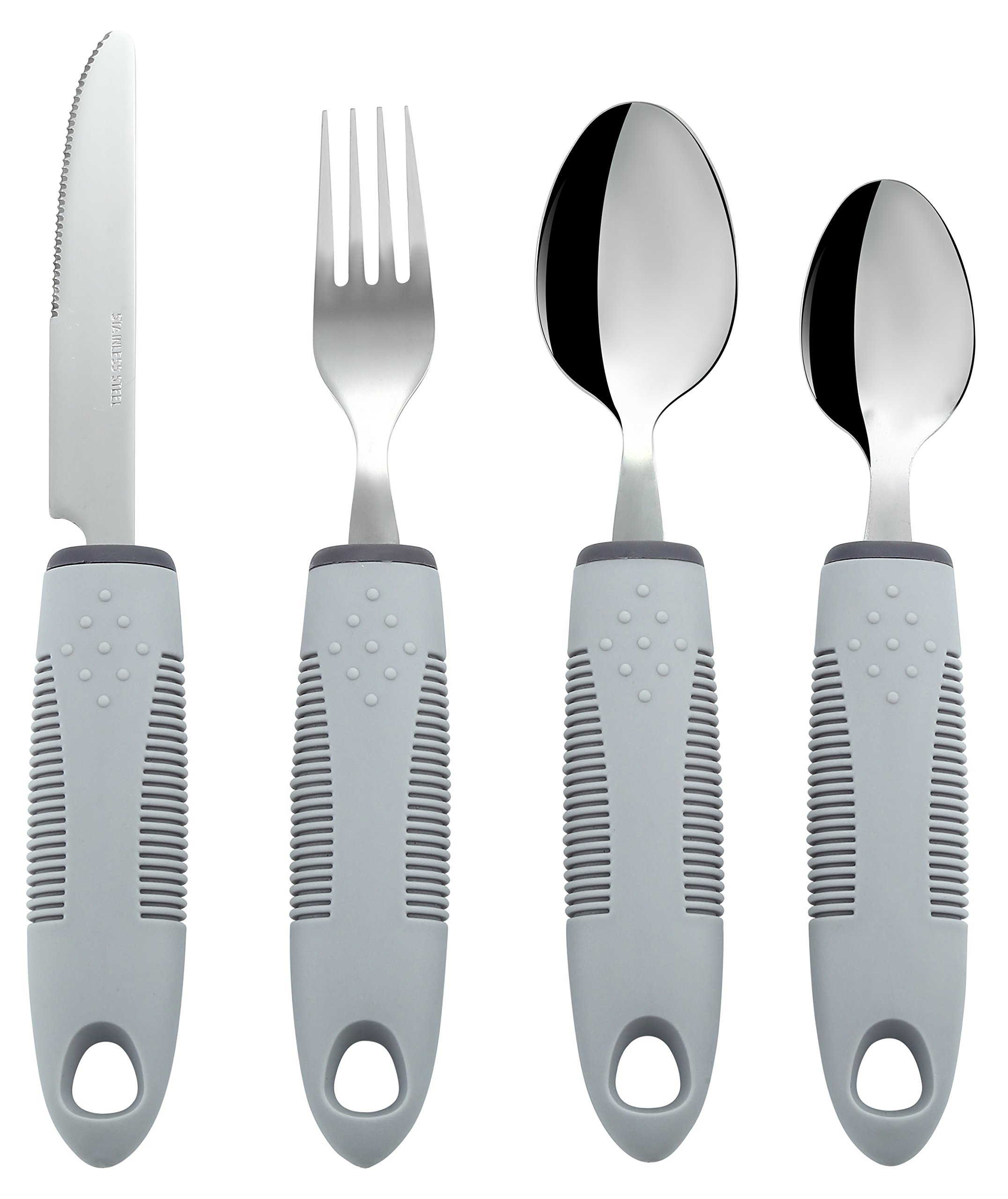 Adaptive Utensils (4-Piece Kitchen Set) Wide, Non-Weighted, Non-Slip Handles for Hand Tremors, Arthritis, Parkinson's Or Elderly use | Stainless Steel Knife, Fork, Spoons - Grey