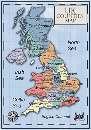 Kids Map Of England.Black Creations Uk Counties Map England Scotland Wales A4 A1