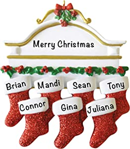Personalized Christmas Ornaments 2021 – Personalized Red Stockings Family of 7 Ornament for Parents, Kids, Grandparents – Polyresin Christmas Tree Decoration – Durable 2021 Family Ornament