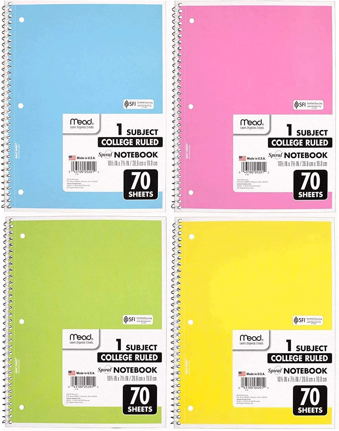 Mead Spiral Notebook 4 Pack of 1-Subject College Ruled, Pastel Color COLOR WILL VARY,Spiral Bound Notebooks, Cute school Notebooks 70 Pages