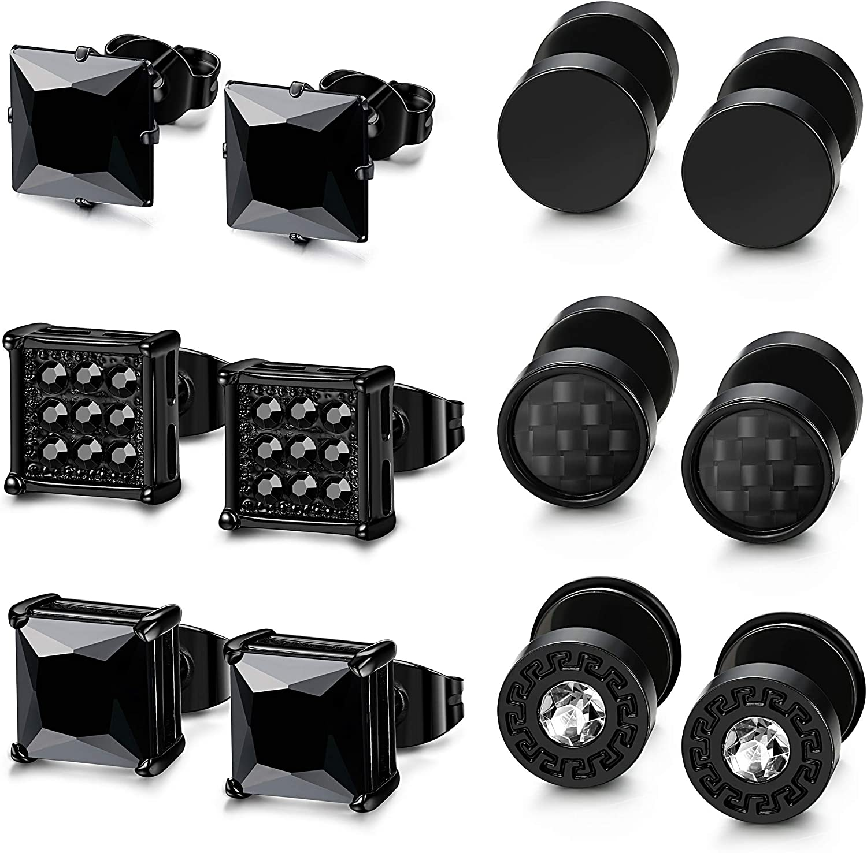 LOLIAS 6 Pairs Black Stainless Steel CZ Stud Earrings Set for Men Women Black Cubic Zirconia Earrings Piercing,Black