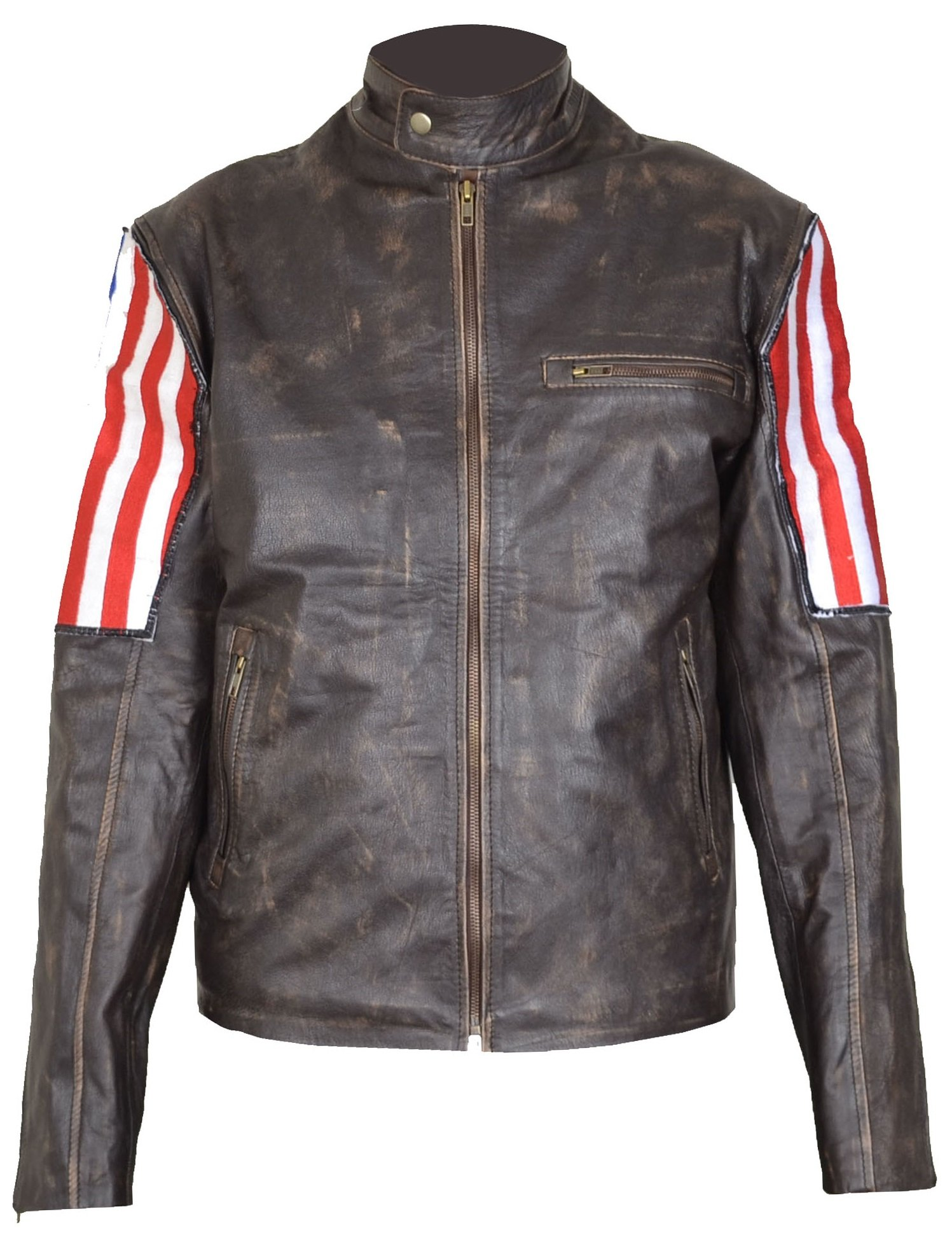 SUPERUS Men Vintage Biker Retro Motorcycle US Flag Moto Distressed Leather Jacket (XL)
