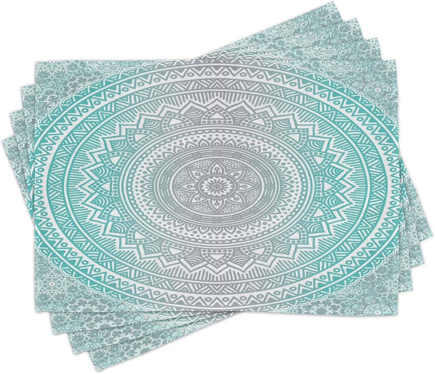 Ambesonne Grey and Aqua Place Mats Set of 4, Ombre Traditional Universe with Tribal Geometric Mandala Artwork, Washable Fabric Placemats for Dining Room Kitchen Table Decor, Aqua Grey