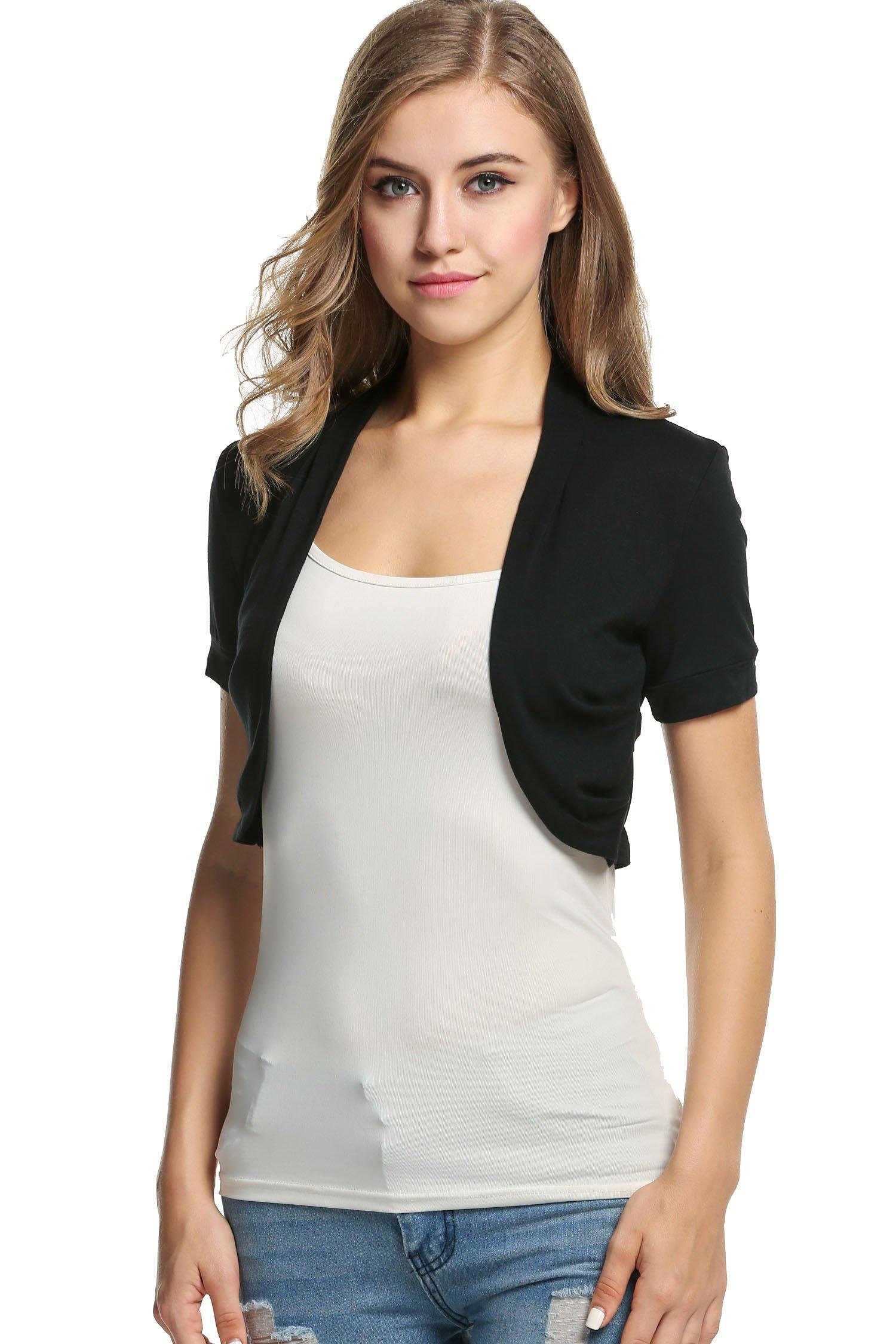 BEAUTYTALK Women's Junior's Bolero Shrug Jacket Cardigan Short Sleeve(Black,XS)