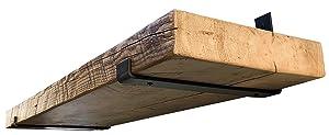 DIY CARTEL Industrial Forged Steel Floating Shelf J Bracket with Lip - Heavy Duty Rustic Shelf Brackets- Raw Metal/Steel Floating Shelf Hardware - 2 Pack Wall Mount Shelf Brackets (11 3/8 x 6-inch)