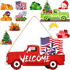 Jetec Interchangeable Welcome Home Christmas Sign Red and Green Truck Xmas Wooden Sign Double Side Printed Truck Hanging Sign with 10 Pieces Cute Wooden Sign Decors for Home Christmas Party Decor