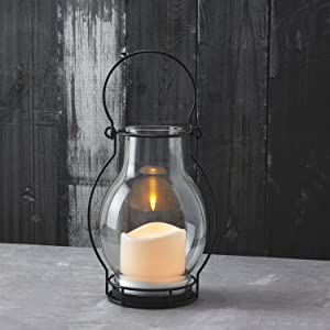 """Outdoor Solar Flameless Candle Lanterns, 10.5"""" Height, Glass, Warm White LEDs, Dusk to Dawn Technology, Batteries Included"""
