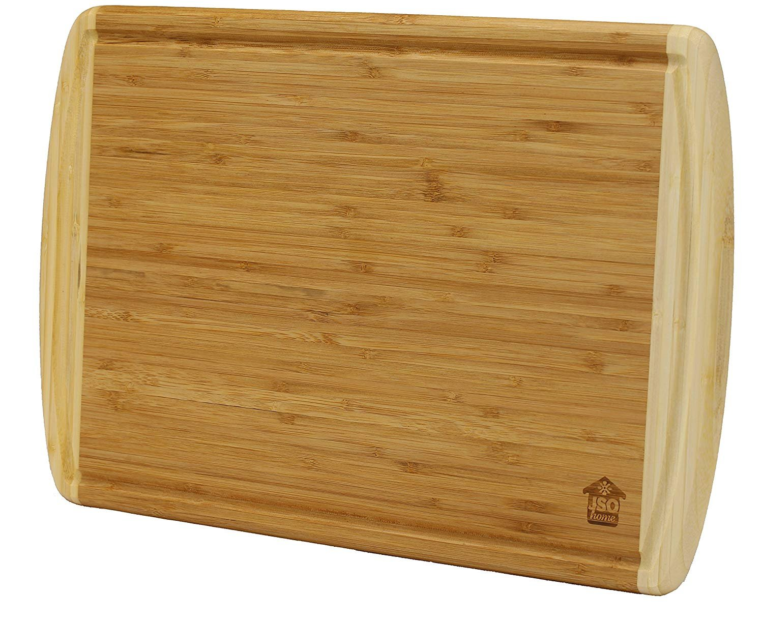 Organic Cutting Board Two Tone Wood Bamboo 12'' x 18'' W/Drip Tray, For Carving Chopping Mincing Crushing Mashing Food Prep Serving. Thick, Durable, Stylish, Resilient Finish, Bamboo