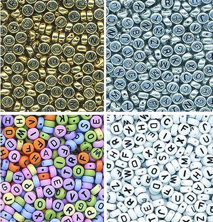 Amazon.com: AlphaAcc 1600 Assorted Threadable Letter Beads - 400 ...