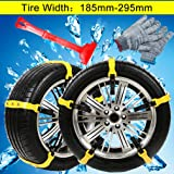 Snow Chains Emergency Tire chains Tire Chains Adjustable Snow Cable Chains Emergency Tractio Chains Fit for Most Car/SUV/Truck 185mm-295mm 10 PC