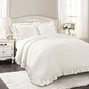 Lush Decor Reyna Comforter Ruffled 2 Piece Bedding Set with Pillow Shams, Twin XL, White