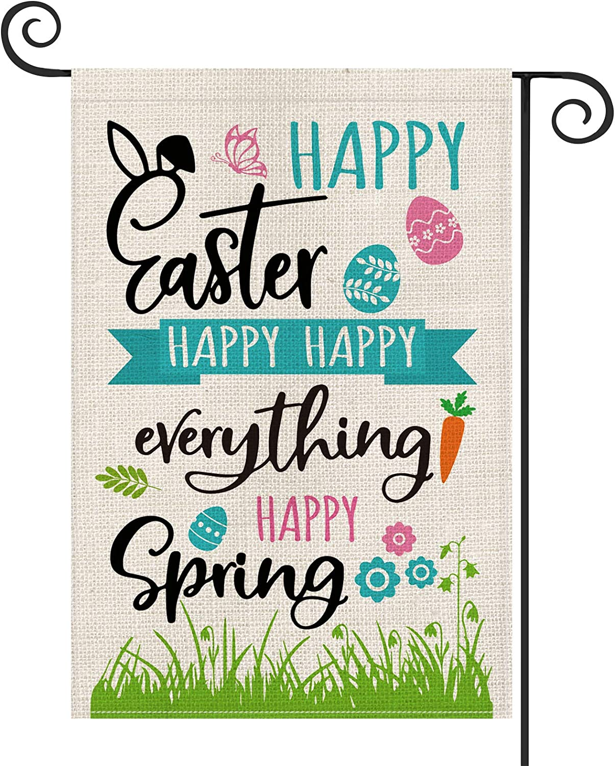 AVOIN Happy Spring Easter Garden Flag Vertical Double Sized, Grass Egg Carrot Holiday Party Yard Outdoor Decoration 12.5 x 18 Inch