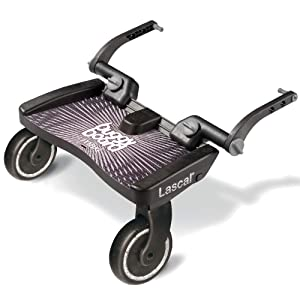 Lascal BuggyBoard Maxi, Black, Universal Ride-On Stroller Board, Fits More Strollers using The Patented Universal Adapter, Holds Up To 66 lbs (Adjusting Screws Color and Packaging May Vary)