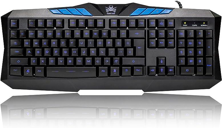 BAKTH K-BLU-XT32 - Teclado (retroiluminado, LED, USB - Kit con Alfombrilla), Color Negro y Azul
