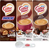 Nestle Coffee mate Liquid Coffee Creamer Singles Variety Pack, Snickers, Vanilla Caramel, Cafe Mocha, 50 Ct Box (Pack of 3) w